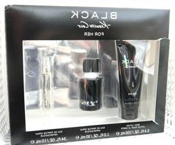 3 Pc Gift Set KENNETH COLE BLACK FOR HER EDP 1 oz .34 oz Lot