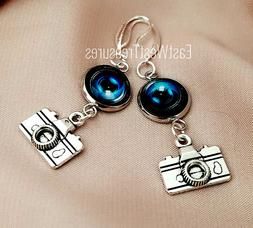 Camera lens Photography Photographer Drop earrings-925 sterl