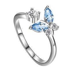 AOBOCO 925 Sterling Silver Adjustable Open Butterfly Rings W