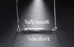 925 Sterling Silver Horizontal Bar Necklace Sideways Charm P
