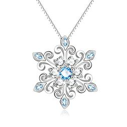 925 Sterling Silver Snowflake Pendant Necklace Blue and Whit