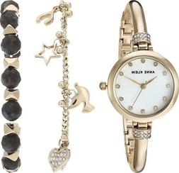 Anne Klein 2840LBDT Women's MOP Dial Crystal Watch & Bracele