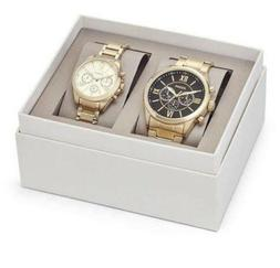 Fossil BQ2145 His & Her Gold Tone Stainless Steel Chronograp