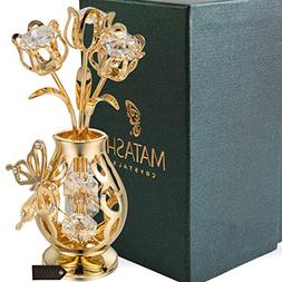 Matashi 24K Gold Plated Crystal Studded Flower Ornament in a