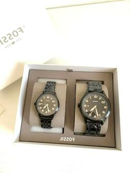 New FOSSIL BQ2146SET Black Grant Silver Stainless Steel - Me
