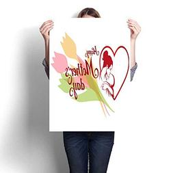 Abstract painting Happy Mother s day Lettering Silhouette of