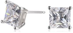 Amazon Essentials Plated Sterling Silver Cubic Zirconia Stud