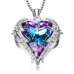 Angel Wings Pendant Necklace Heart Love Crystals Jewelry For