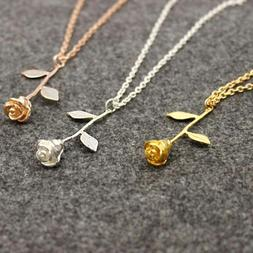 Anniversary Gifts for Her Delicate Rose Flower Pendant Neckl