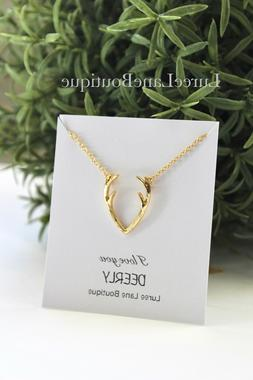 Antler necklace- Antler pendant- Valentine's Day necklace-Gi
