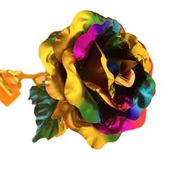 WIFORNT 24k Artificial Flower Roses, Colorful Rainbow Dipped