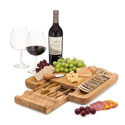 Bamboo Cheese Board Set With Cutlery In Slide-Out Drawer Inc