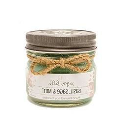 Basil, Sage & Mint 4 oz Soy Mason Jar Scented Candle