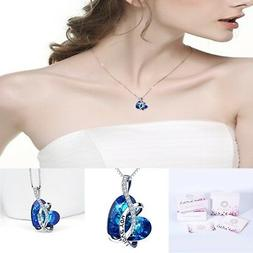 BEAUTIFUL Woman Blue Heart Pendant Chain Necklace Valentine'