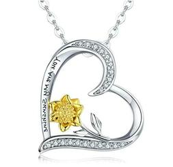 Best Gift for Her S925 Silver You Are My Sunshine Sunflower