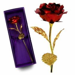 Birthday Gift for Her US 24K Dipped Gold Foil Flower Rose Gi