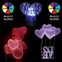 Birthday / Valentine's Day 3D LED Heart 7 Color Night lights