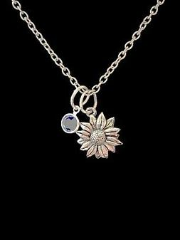 Birthstone Necklace Daisy Flower Sunflower Mother's Day Gift