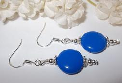 Blue and Silver Earrings Dangle Drop Handmade Woman Jewelry