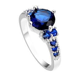 Rongxing Jewelry Blue Sapphire Round Ring 6 Women's White Go