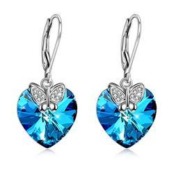 Butterfly Leverback Women Dangle Drop Earrings 925 Sterling