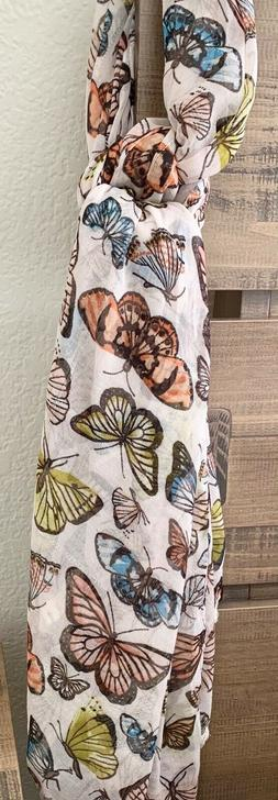 Butterfly Print long Scarf - Womens Wrap Shawl Fashion birth