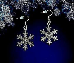 BUY 3 GET 1 FREE~SILVER SNOWFLAKE DANGLE EARRINGS~CHRISTMAS
