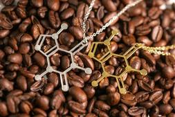Caffeine Molecule Pendant Necklace | Gift For Her Women's Ne