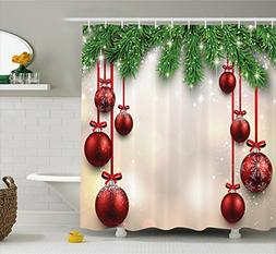 Ambesonne Christmas Decorations Shower Curtain, Xmas Inspire