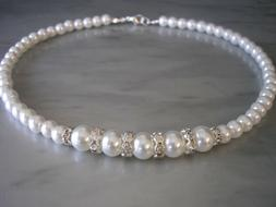 Coloured Pearl & Sparkly Diamante Necklace for her Ladies Gi