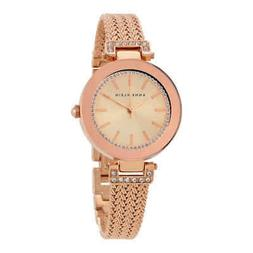crystal accent mesh strap watch