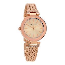 Women's Anne Klein Crystal Accent Mesh Strap Watch, 30mm - R