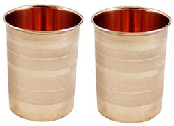 SKAVIJ Pure Copper Water Tumblers Set of 2 Handmade Luxury D