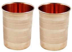 SKAVIJ Pure Copper Water Tumblers Set of 2 Handmade Luxury D
