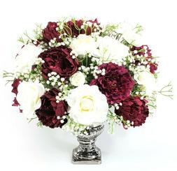 Deep Burgundy Peonies Silk Floral Arrangement, Gift For Her,