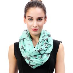 Fashion Swallow Bird Print Womens Infinity Loop Scarf Soft G
