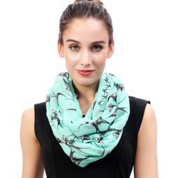 Fashion Swallow Bird Print Womens Infinity Loop Scarf Soft G