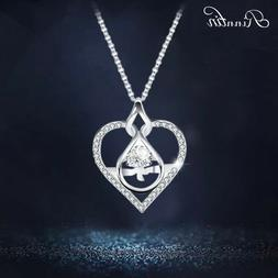 Fashion Women Love Heart Crystal S925 Silver Necklace Chain