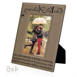Our First  Anniversary Engraved Leather Picture Frame - Gift