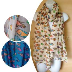 Fish Scarf Colourful Tropical Fishes Printed Gift for her Wo