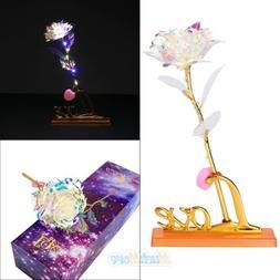 Galaxy Rose Flower LED Light w/ Love Shape Base Romantic Lov