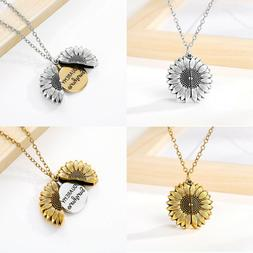 GIFT FOR HER Locket Necklace Sunflower You are My Sunshine G
