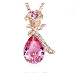 Gift for Her Women Girls Wife Love Pendant Necklace 18K Rose