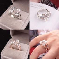 Gifts For Her Open Adjustable Ring Zircon Pearls Rings Gifts