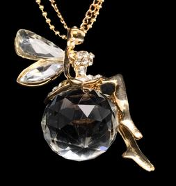 Gold Plated Crystal Fairy Pendant Chain Necklace, Christmas