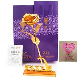 Joulli 24K Gold Rose, Gold Foil Artificial Rose Decoration F
