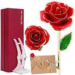 24k Gold Rose Flower Gold Dipped Real Everlasting Rose for H
