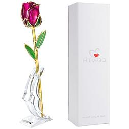 DeFaith Original 24K Gold Rose, Unique Anniversary Gifts for