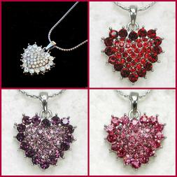 RHINESTONE HEART NECKLACE~HAPPY VALENTINES DAY GIFT FOR HER