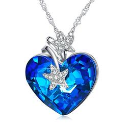 ANCREU Heart Ocean Necklace Love Heart Pendant Necklaces Wom